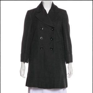 NWT BURBERRY LONDON BUTTON-UP NOTCH-LAPEL PEACOAT